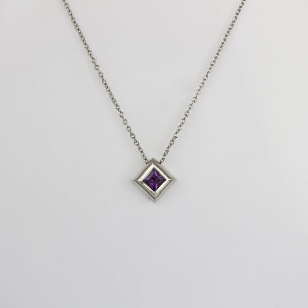 Purple princess cut sapphire Platinum necklace