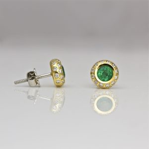Emerald & diamond 18ct gold ear-studs