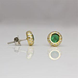 Emerald & diamond 18ct gold ear-studs