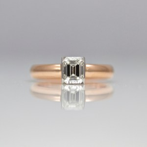 Emerald cut diamond rose gold ring