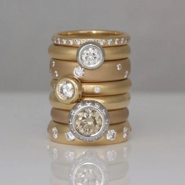 Modern rose gold rings