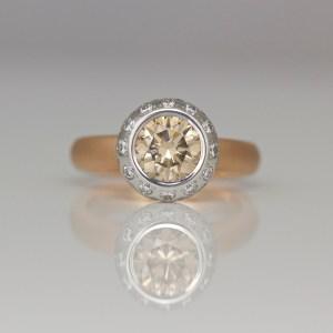 Natural pink champagne diamond ring