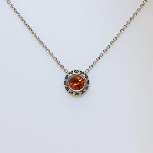 Orange sapphire, black diamond necklace