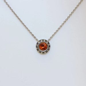 Orange sapphire, black diamond necklace