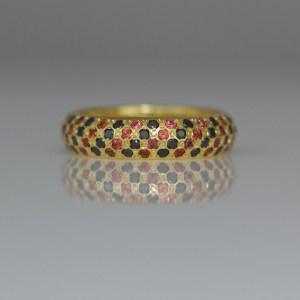 Orange sapphires & black diamonds pave set in gold