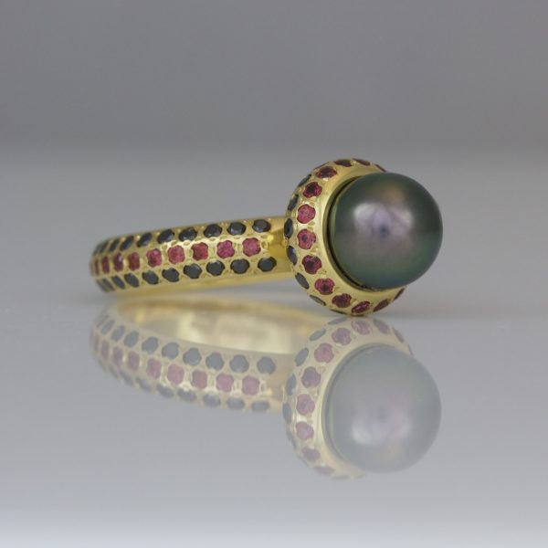Tahitian pearl with orange sapphires & black diamonds ring