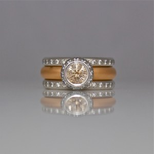 Pink champagne diamond and rose gold wedding ring set