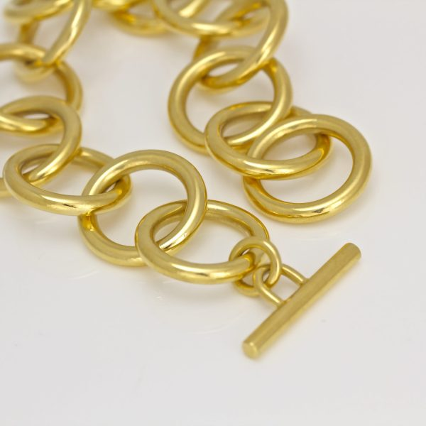 18ct yellow gold solid round link bracelet