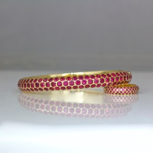 The finest quality Burmese rubies in 18ct gold bangle