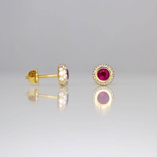 Perfect ruby & diamond halo ear-studs