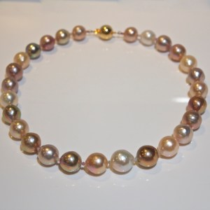 Natural colour pearl & pink sapphire necklace