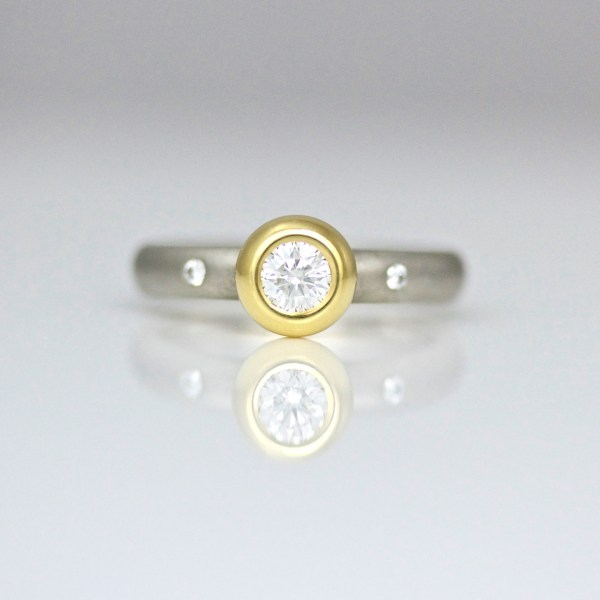 rub-over set diamond engagement ring 0886 David Ashton