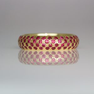 Rubies pave set in yellow gold ring 0956 David Ashton