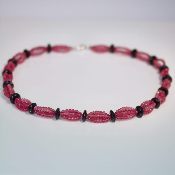Pink tourmaline & pearl necklace