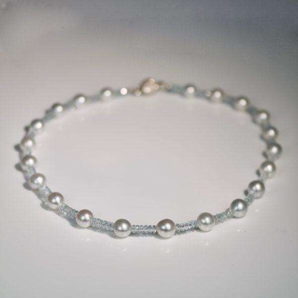 Pearl & aquamarine necklace
