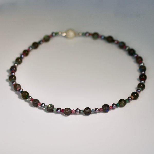 Tourmaline, labradorite & pearl necklace