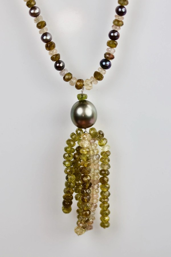 Tourmaline, sapphire & pearl necklace