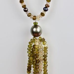 Tourmaline, sapphire & pearl necklace