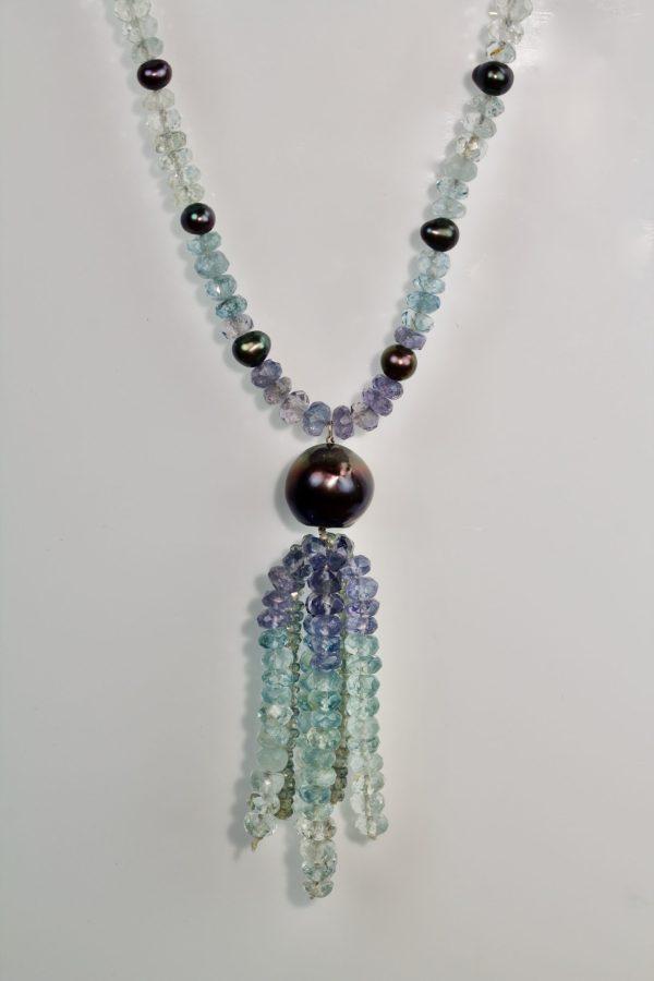 Tanzanite, aquamarine, sapphire & pearl necklace