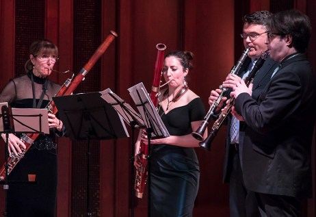 Judith Farmer & Gina Cuffari - bassoons, Bill Jackson & José Franch-Ballester - clarinets. Camerata Pacifica 1/20/17 Hahn Hall, Music Academy of the West