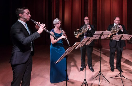 James Austin Smith & Claire Brazeau - oboes, Richard Berry & Martin Owen - horns. Camerata Pacifica 1/20/17 Hahn Hall, Music Academy of the West