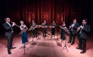 James Austin Smith & Claire Brazeau - oboes, Richard Berry & Martin Owen - horns, Judith Farmer & Gina Cuffari - bassoons, Bill Jackson & José Franch-Ballester - clarinets. Camerata Pacifica 1/20/17 Hahn Hall, Music Academy of the West