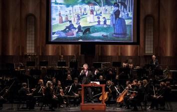 David Lockington enlightens studetns at the Santa Barbara Symphony Orchestra Concert for Young People 1/27/17 the Granada Theatre