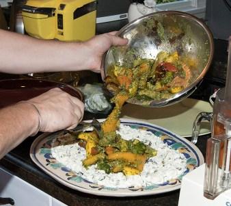 Food and spirits writer Nils Bernstein preparing Mexican veggie entrée for Susanna Vapnek's Fiesta Party 8/5/17 Susanna Vapnek's residence