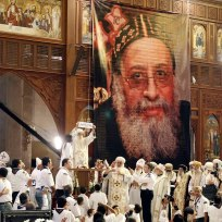 The congregation begins to rejoice at the selection of the new pope; His Holiness Pope Tawadros II!