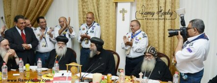 H.G. Bishop Tawadros sitting with H.E. Metropolitan Pachomios and H.G. Bishop Sarabamoun.