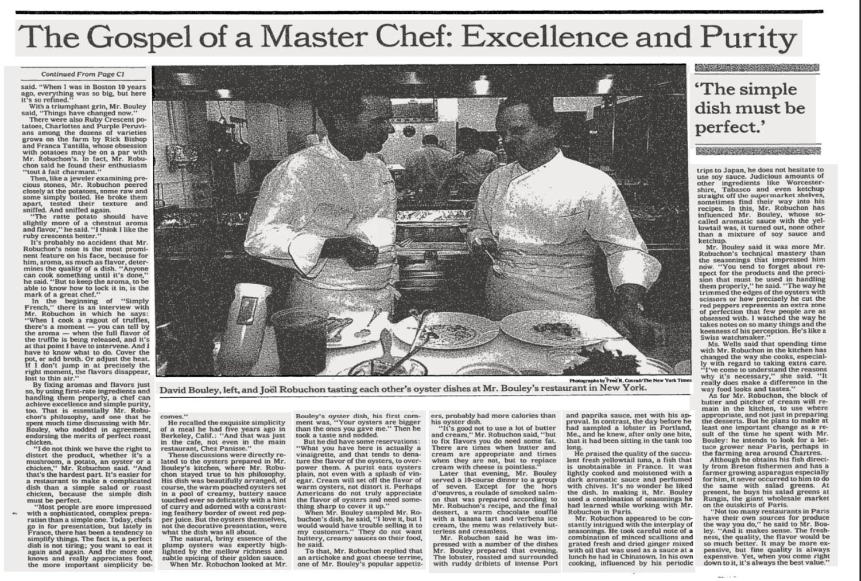 NY Times David Bouley Joel Robuchon (1991) - image 2