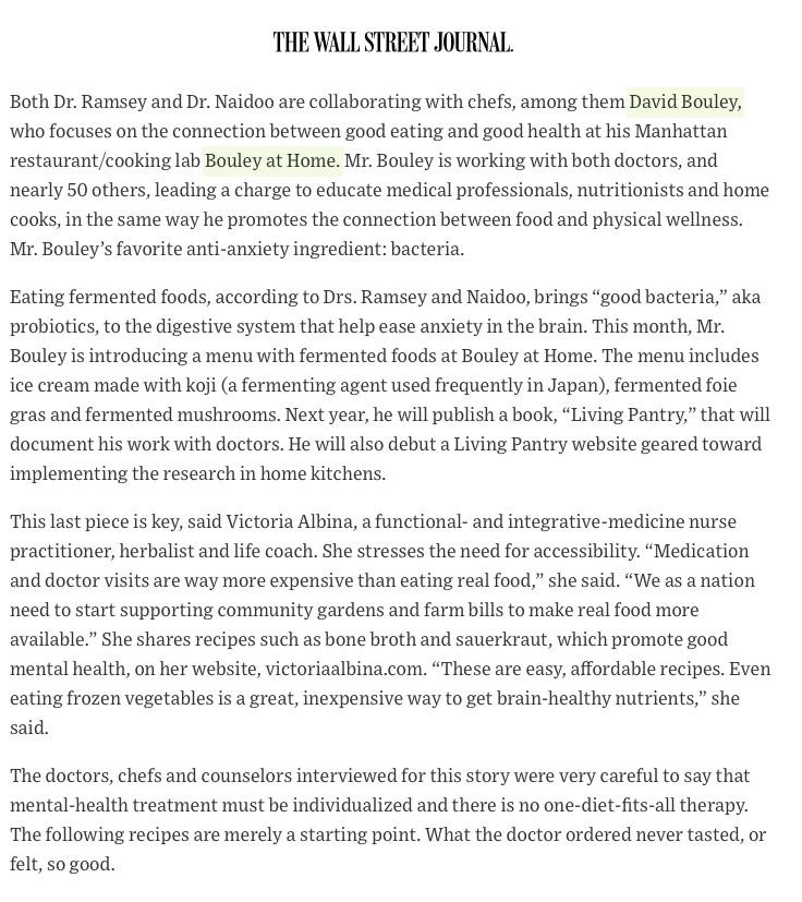 Wall Street Journal Press Clip RE: David Bouley, Dr. Uma Naidoo and Dr. Drew Ramsey - p2
