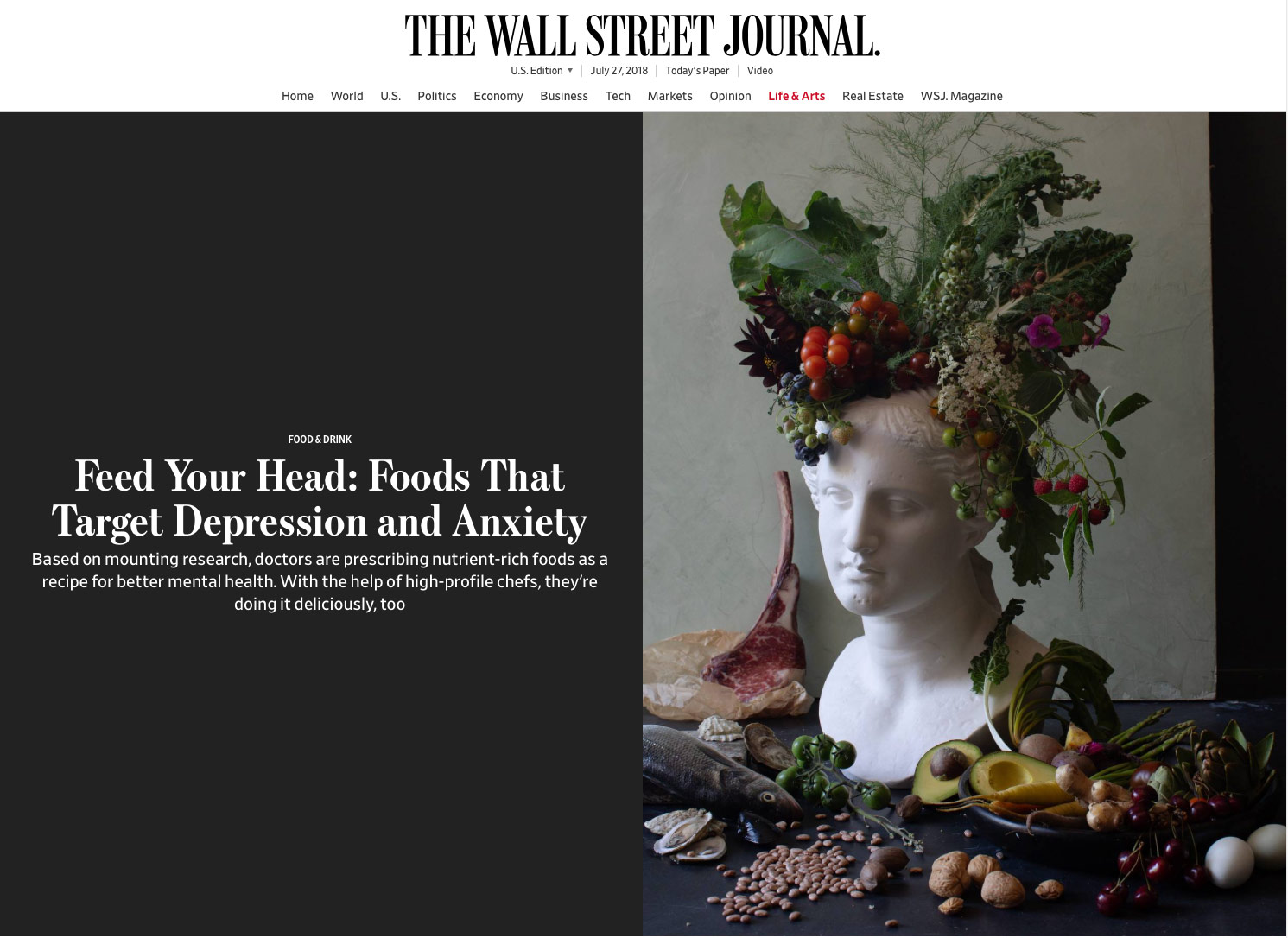 Wall Street Journal Press Clip RE: David Bouley, Dr. Uma Naidoo and Dr. Drew Ramsey