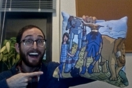 Me with an extremely attractive Wizard of Oz throw pillow