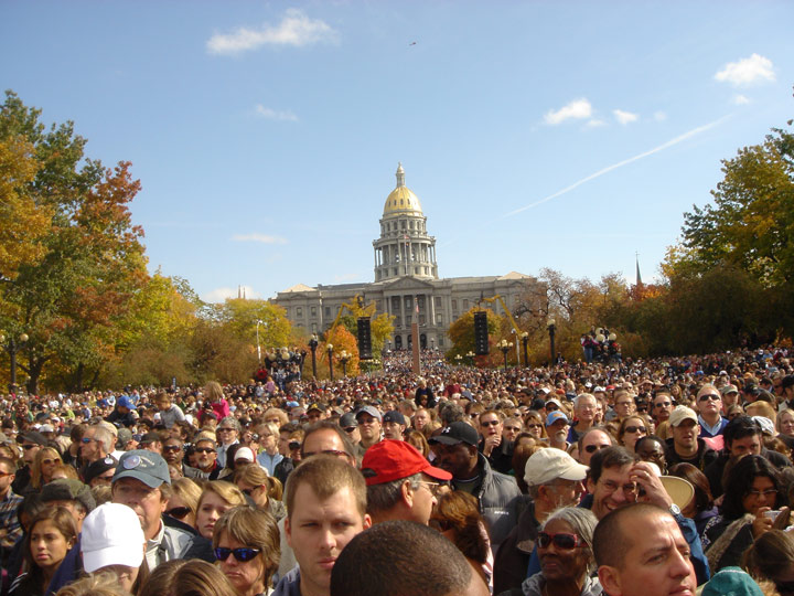 Looking east towards the state capitol... from the middle of 100,000 fans