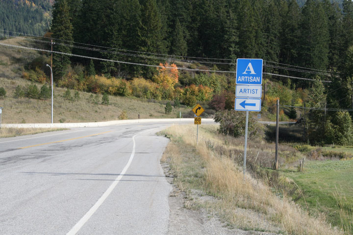 Artisan Road Sign in Southern BC