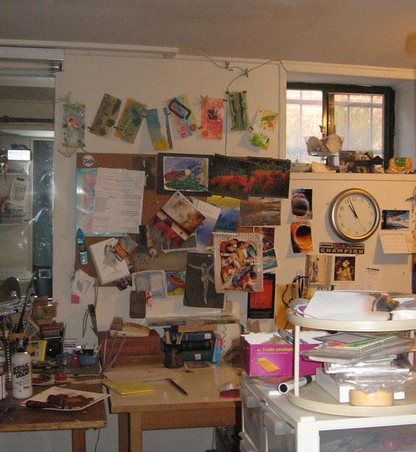 Judith's basement studio and window view.