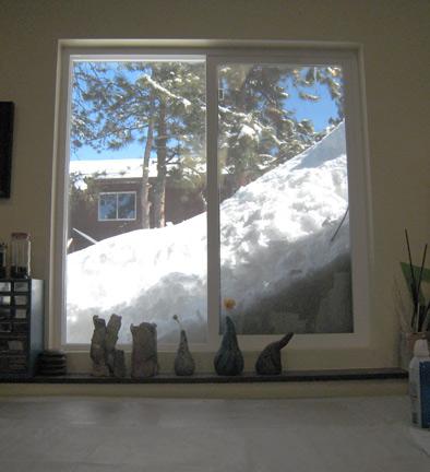 Snow piles up at Kathy's studio in Colorado.