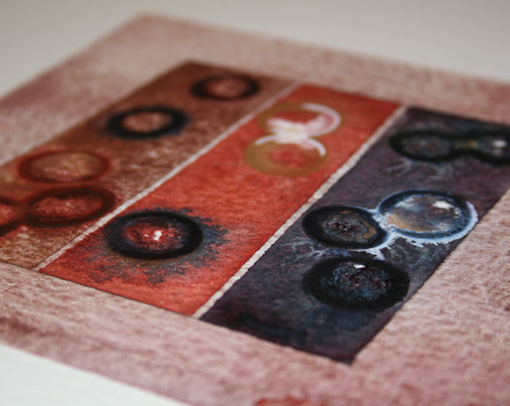 Mini Fossils on rough watercolor paper, about 6 x 6 inches.