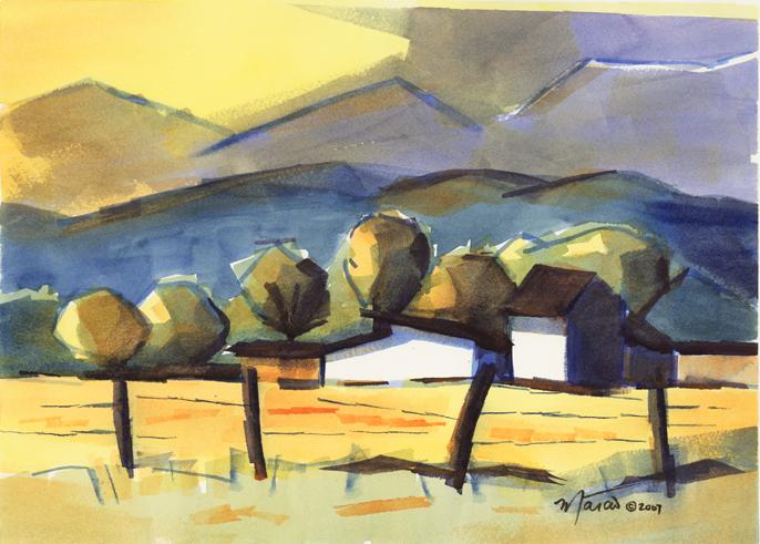 Marcio Correa, Farm Houses, watercolor on paper, nxn inches.