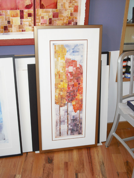 Tall Autumn Trees Fine Art Print (about 40 x 20 inches framed size; $390 as framed with hand-embellished metallic highlights).