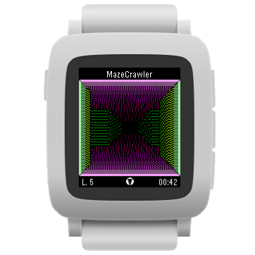 MazeCrawler, color version, on a white Pebble Time device.