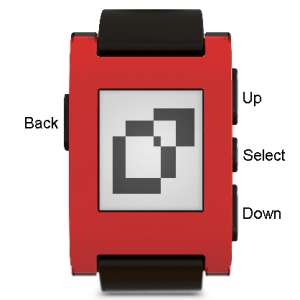 "The Pebble's four buttons: ""Back"" on the left side and ""Up,"" ""Select,"" and ""Down"" on the right side."