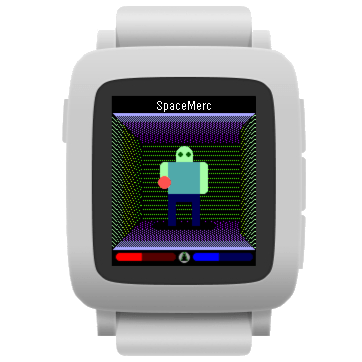 SpaceMerc, color version, on a white Pebble Time device.