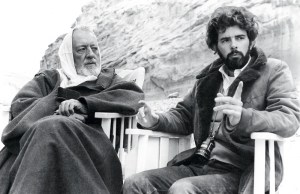 George Lucas and Sir Alec Guinness on the set of the original Star Wars film.
