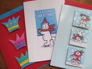 Real Design cards (with boggly eyes and glitter)