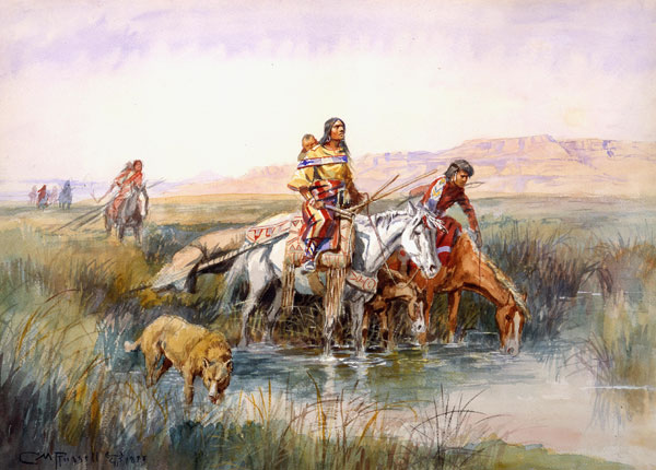 indian women moving camp charles marion russell