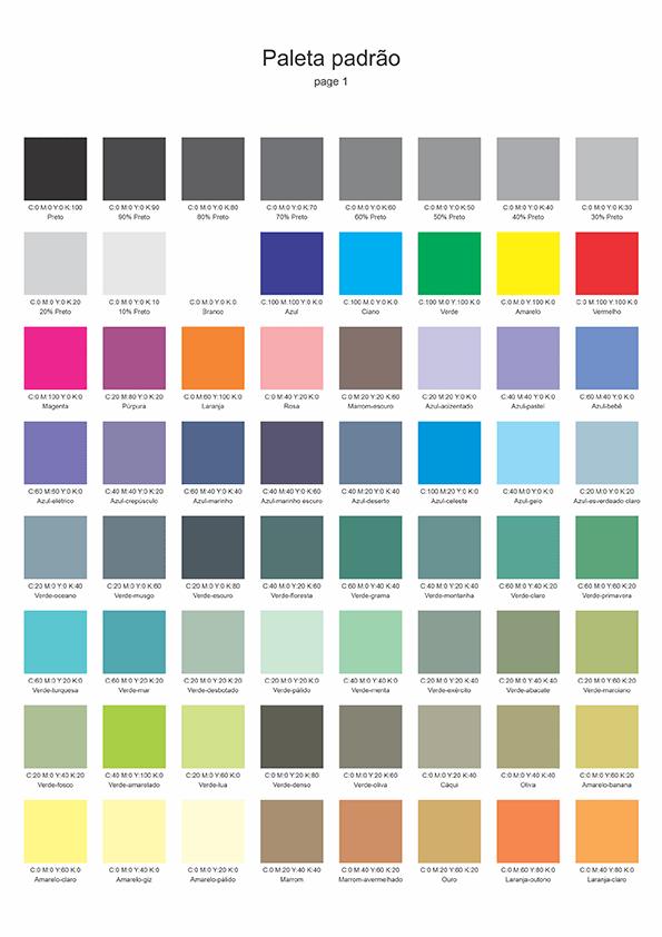 Amostra paleta de cores