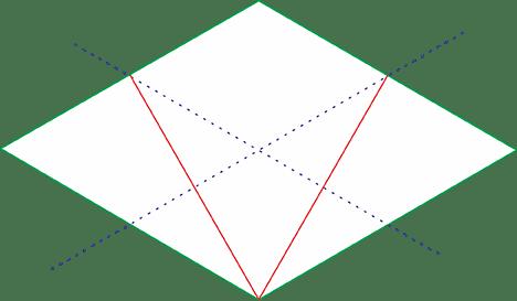 Quadrado Isométrico linha perpendicular inferior