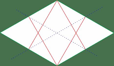 Quadrado Isométrico linha perpendicular superior